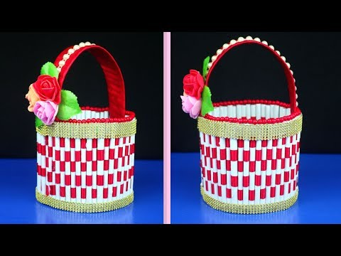 How to Make Plastic Bottle & Paper Basket in Easy Way | Paper Craft Ideas for Decoration