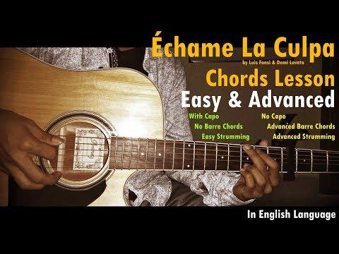 Échame La Culpa (Luis Fonsi, Demi Lovato) Guitar Chords Tutorial (Easy+Advanced)
