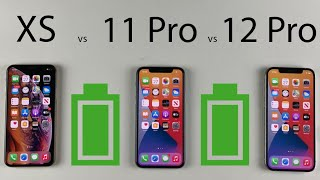 iPhone 12 Pro vs 11 Pro vs XS Battery Life DRAIN Test