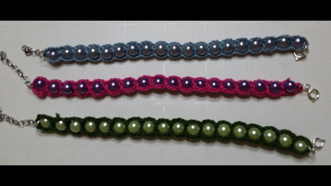 Favoloso Bracciale perle e uncinetto/Pearl bracelet and crochet /Brazalete  ZB99