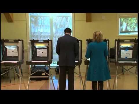 US election 2012: Mitt Romney casts his vote