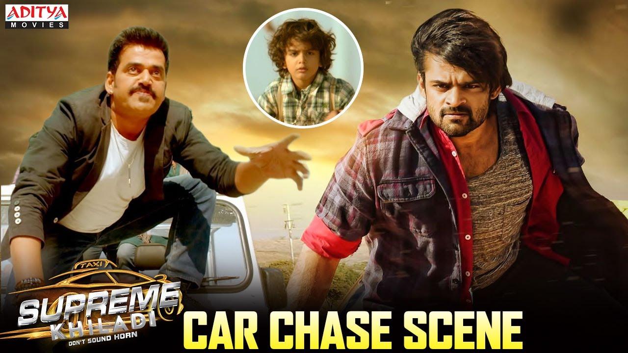 Sai Dharam Tej Car Chase Fight Scene || Supreme Khiladi Hindi Dubbed Movie ||  Aditya Movies