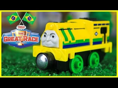 THOMAS AND FRIENDS THE GREAT RACE RAUL OF BRAZIL | TAKE N PLAY TOY TRAIN Kids Playing Toy Trains