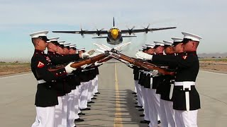 US C-130 Extreme Low Pass During Marines Silent Drill Platoon