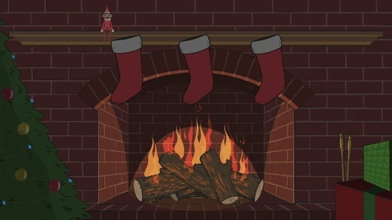 Christmas Fireplace Animated With Elf on a Shelf