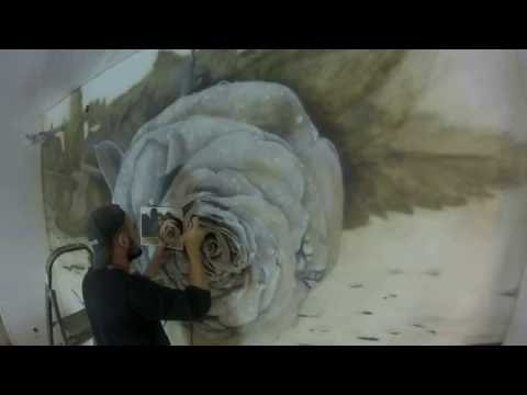 художественная роспись стен, аэрография, роза, роспись стен, рисование аэрографом. Aerography.paint