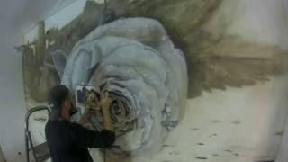 художественная роспись стен, аэрография, роза, роспись стен, рисование аэрографом(Художественная роспись стен аэрографом. Рисунок выполнен в гостиной. Затраченное время пять дней. Подписыв..., 2016-11-07T12:21:09.000Z)