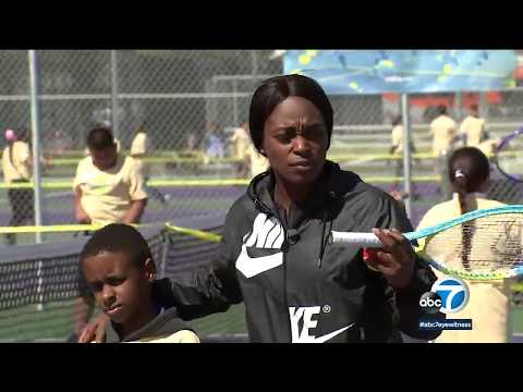 Tennis champ Sloane Stephens helping build courts for kids around LA | ABC7
