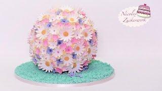 Blumenkugel-Torte I Frühlings-Torte I Fondanttorte von Nicoles Zuckerwerk