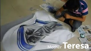 "Mother Teresa ""Rangoli Colored Sand Art"" by Pramod Sahu"