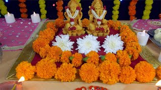 Closeup shot of the decorated temple of Lord Ganesha and Goddess Laxmi - Indian festival Diwali