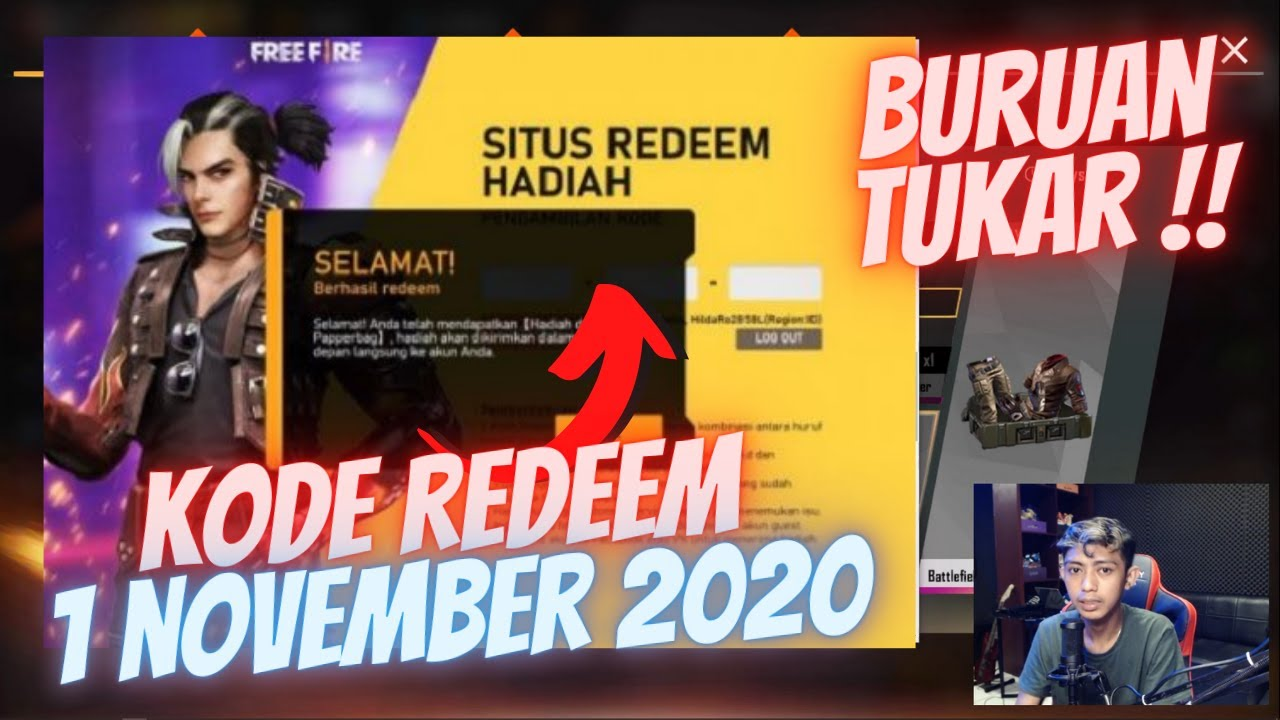 6 KODE REDEEM FREEFIRE TERBARU 1 NOVEMBER 2020 !! BURUAN CUY !!