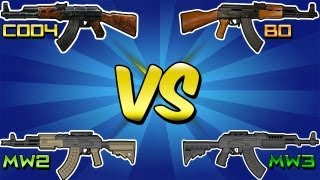 """QUAD AK-47 vs BREAKDOWN"" (Cod 4 vs MW2 vs BO vs MW3) Call of Duty ""AK47 Gun"""