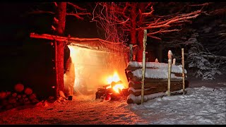 Overnight Stay in a Bushcraft Shelter in Very Cold Conditions. Will We Stay Warm?