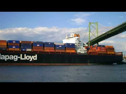 Halifax Container Ship Spotting - Yantian Express under A. Murray MacKay Bridge  July 31, 2013