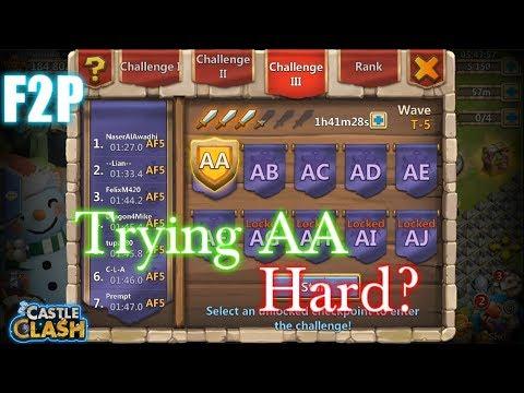 Castle Clash F2P Attempting HBM AA Hard?