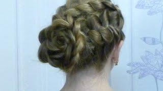 Прическа Цветок из волос. Braided flower spring look hair tutorial(Прическа Цветок из волос. Braided flower spring look hair tutorial Эта изумительная прическа из двух кос на длинных волосах..., 2015-12-27T22:27:25.000Z)