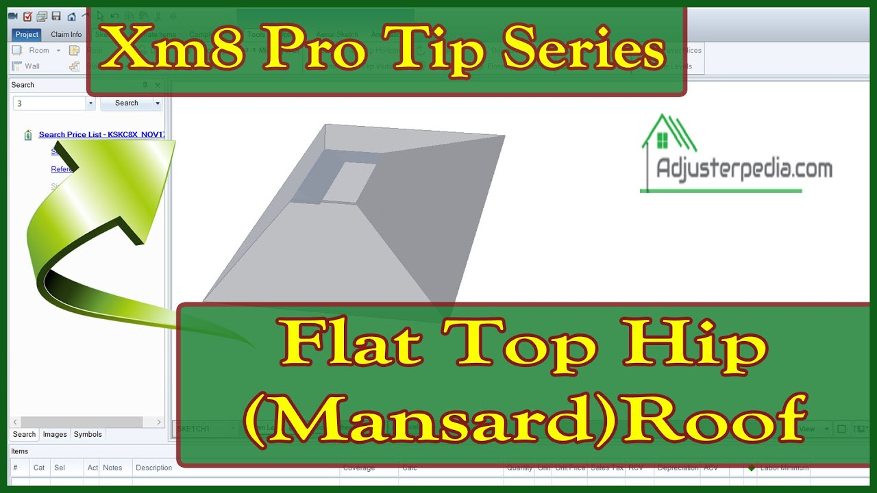 How To Sketch A Flat Top Hip Mansard Roof In Xactimate Youtube