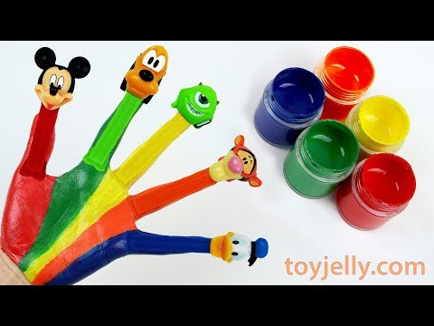 Learn Colors Body Hand Paint Baby Finger Song Nursery Rhymes for Kids Pez Mickey Mouse Donald Duck