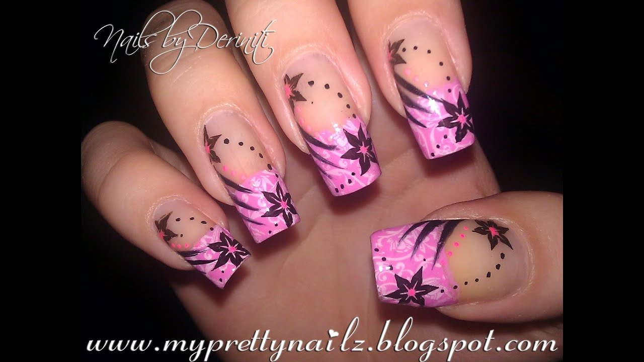 patterned pink french tips