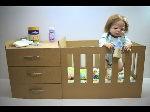 How to make a bed for a doll from a cardboard