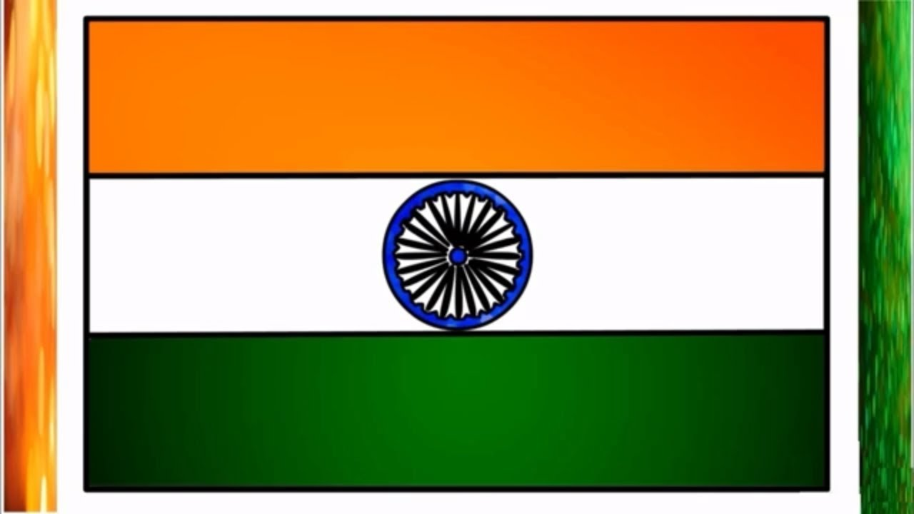 Indian Flag Coloring Page: India Flag Drawing For Kids