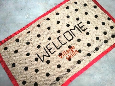 DIY Amazing doormat ideas #23 ,how to make spots jutebag doormat,rug,carpet,tablemat,floormat,Tapete