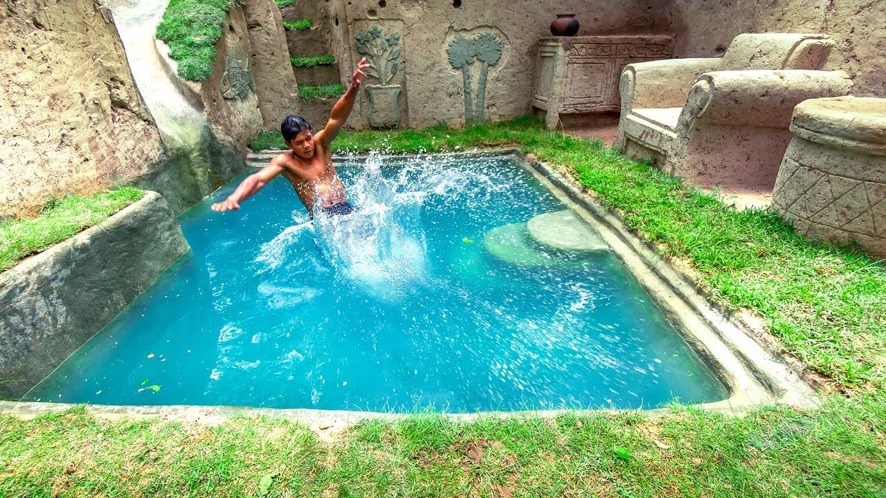 15 Days Building Water Slide Into Underground Swimming Pools And 100 Dollars Private Room