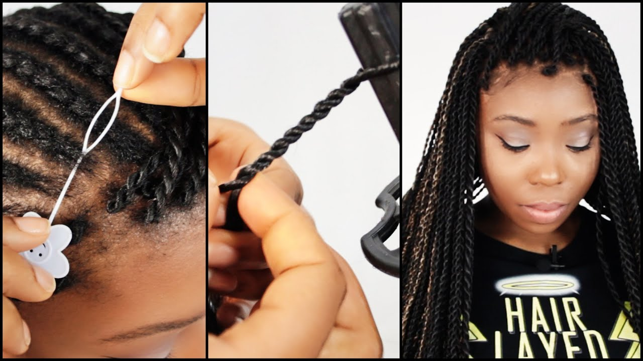 Perimeter Crochet Senegalese Twist Step By Step Tutorial Part 3 Of 7   Installing Pre Made Twists