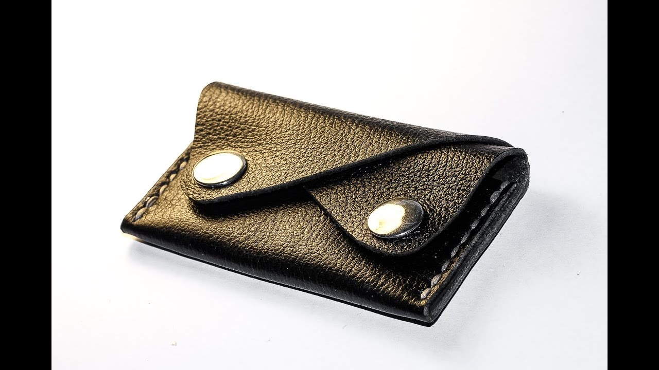 Handmade 2 pocket leather card holder - template available - YouTube