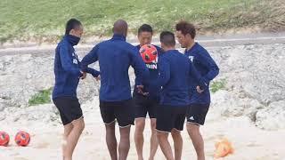 ビーチサッカー日本代表候補トレーニングキャンプ@沖縄でのトレーニングの様子