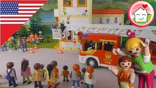 Playmobil video Fire Rescue - Fire Drill at the Nursery School - The Hauser Family