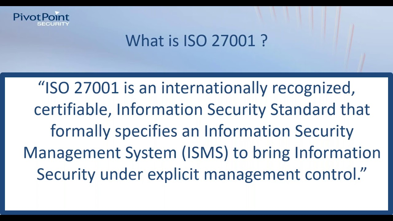 Free ISO 27001 Video Webinar | Pivot Point Security