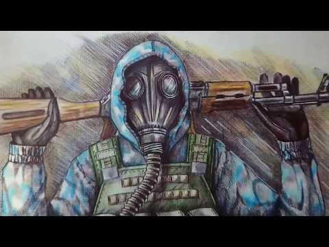 """Как нарисовать бойца STALKERа """"Чистое Небо"""". Рисуем вместе."""