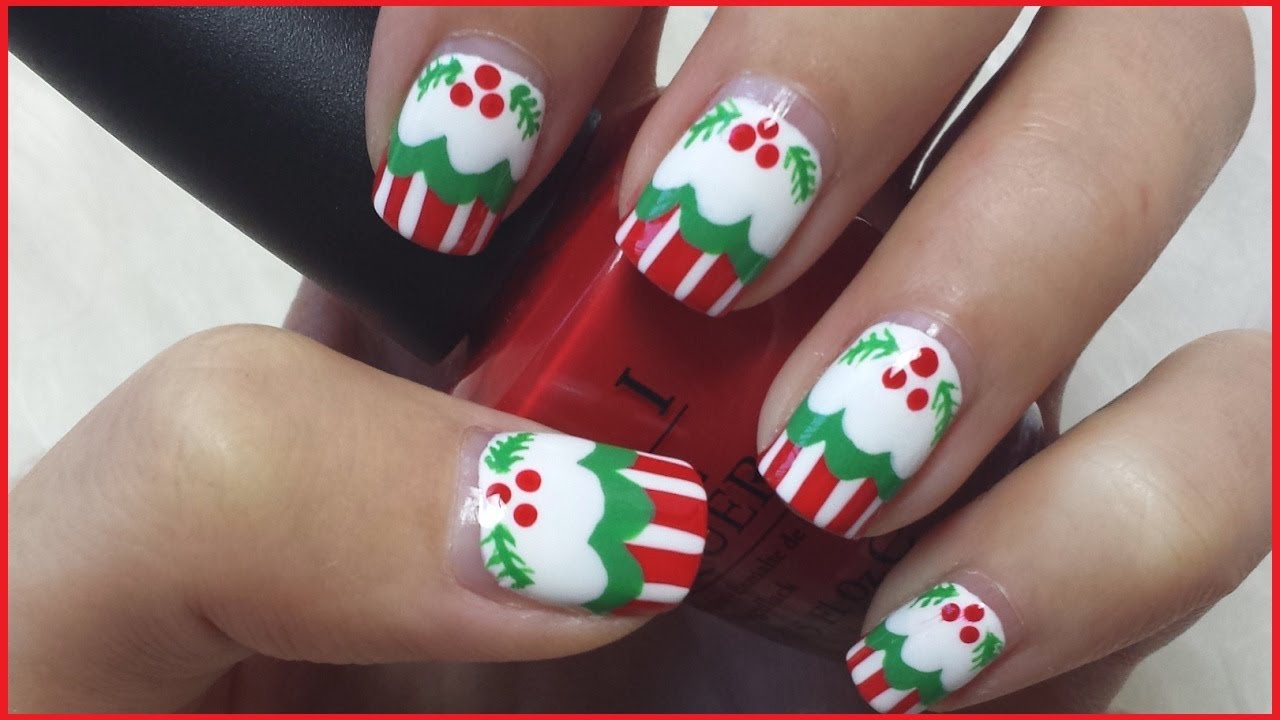 christmas cupcake nails