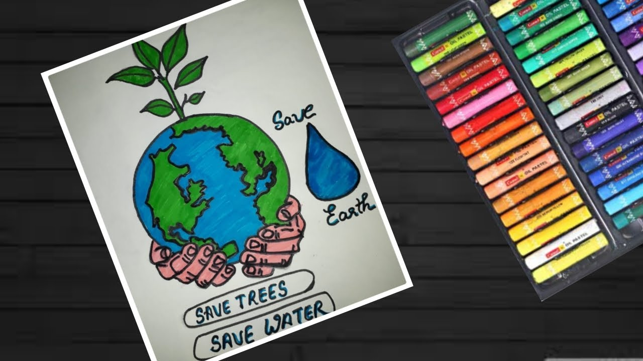 How to draw save trees save earth save water drawing poster easy