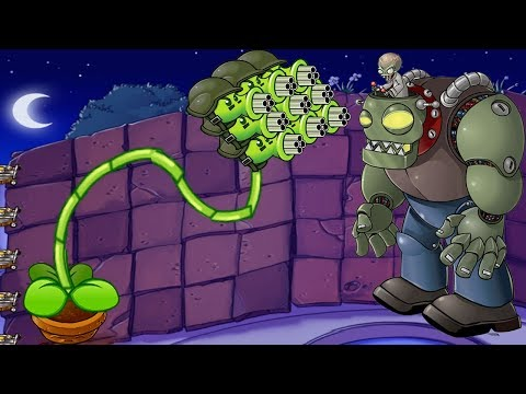 Plants vs Zombies  Hack -  1 Gatling Pea vs Dr. Zomboss Fight!