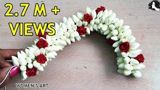Easy method to string jasmine flower | how to tie jasmine flower jadai veni