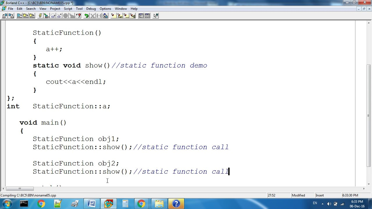 Static Function In C++