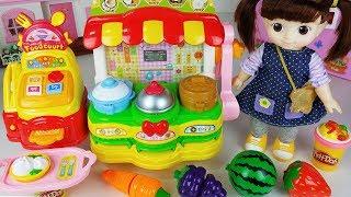 Baby Doll food mart toys and fruit cooking learn play 마트 음식과 아기인형 과일 요리 배우기놀이 تعليم الاطفال - 토이몽TV