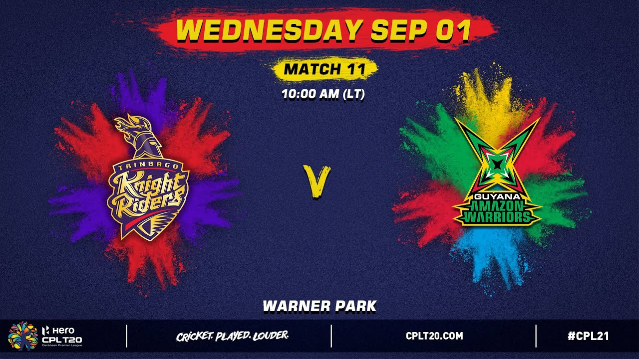 Download LIVE | Trinbago Knight Riders vs Guyana Amazon Warriors | CPL 2021