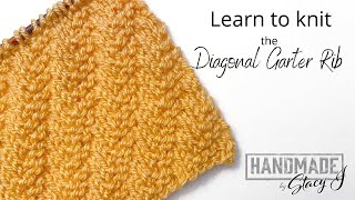 Learn to Knit the Diagonal Garter Rib Stitch - Continental Style