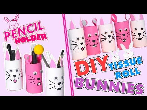 3 Minute Crafts / How to make Toilet Paper Roll Bunny Holder / DIY Tissue Roll Crafts for Kids