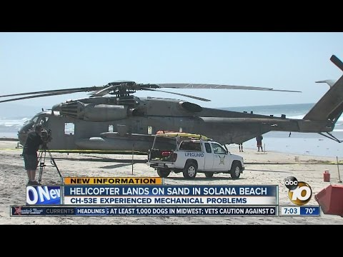 Marine helicopter experiences mechanical issue, lands on beach in North County
