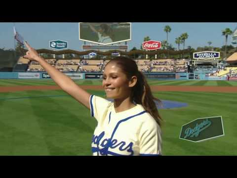 Greice Santo  First Pitch at Dodger Stadium 05312018