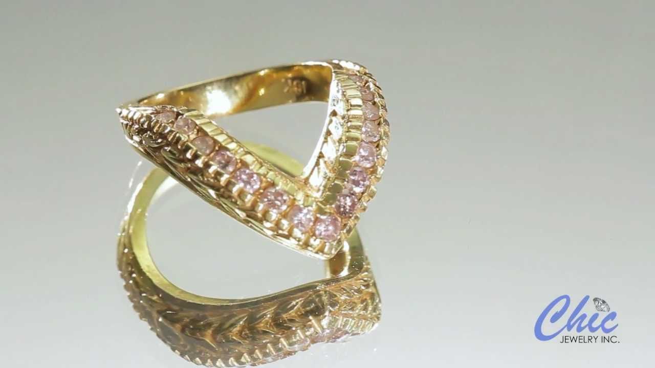 Yellow gold V shaped right hand ring in 14k yellow gold ...