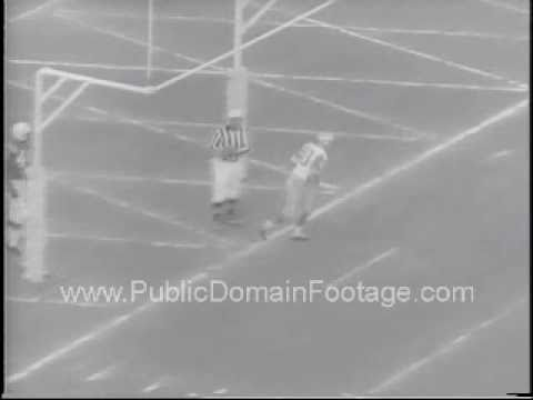 Howard Hopalong Cassady Detroit Lions Slams into goal post footage PublicDomainFootage.com