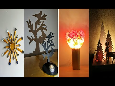 4 waste material craft ideas | room decor | art and craft ideas / diy crafts / amazing pixies
