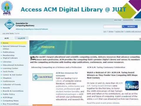 ACM DIGITAL LIBRARY ACCESS @ JUIT