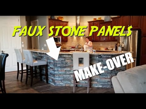 Faux Stone Panels Kitchen Island Make Over